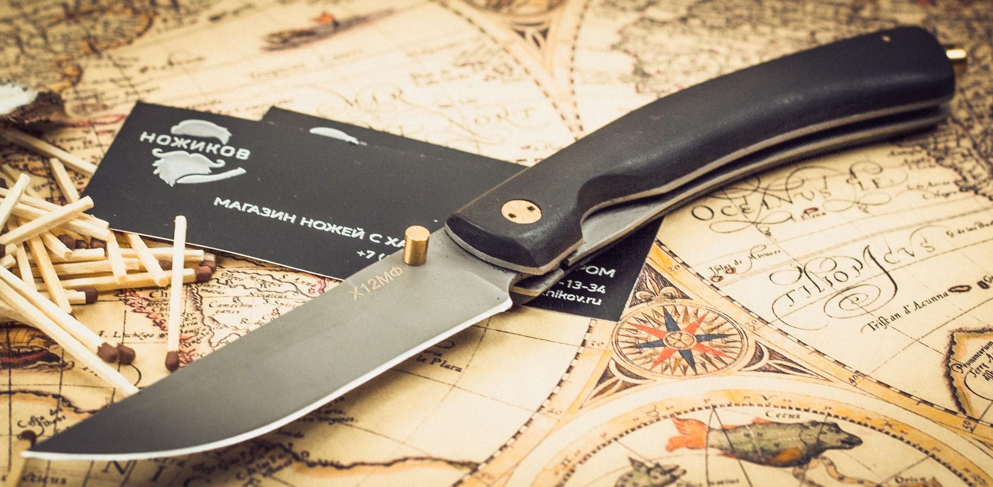 Фото 5 - Складной нож Кайрос, сталь Х12МФ, граб от Марычев