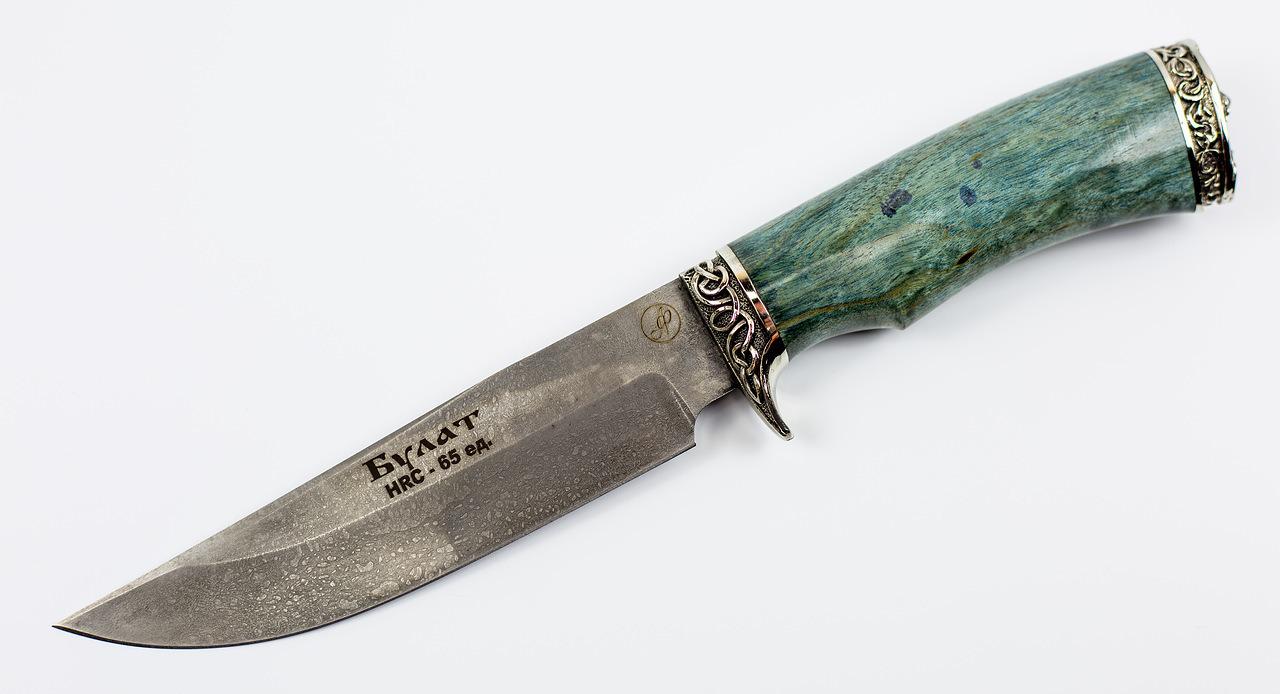 Нож Газель, литой булат Баранова, карельская береза