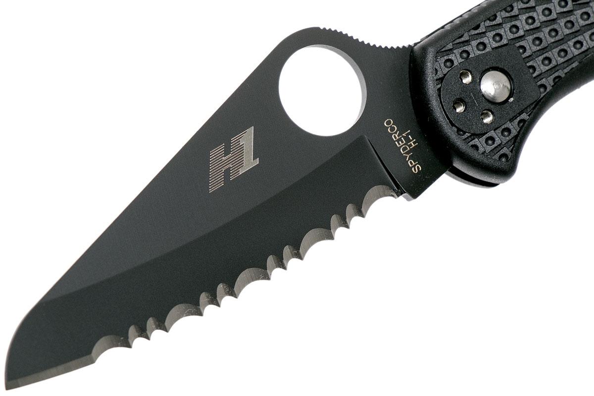 Фото 6 - Складной нож Salt 2 - Spyderco 88SBBK2, сталь H-1 Black Titanium Carbonitride (TiCN) Serrated, рукоять термопластик FRN, чёрный