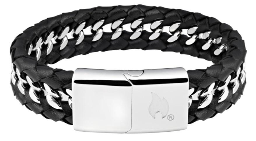Браслет ZIPPO, чёрный, нержавеющая сталь/натуральная кожа, 22x1,80x0,70 см фото