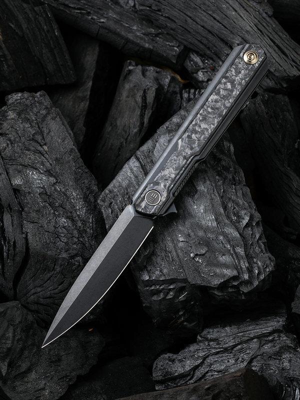 Складной нож WE Knife Peer Black, CPM 20CV, титан/карбон