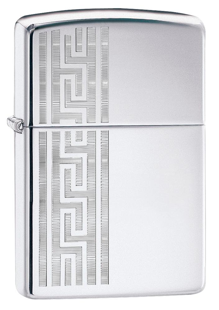 Зажигалка ZIPPO Greek Pattern с покрытием High Polish Chrome, латунь/сталь, серебристая, глянцевая, 36x12x56 мм