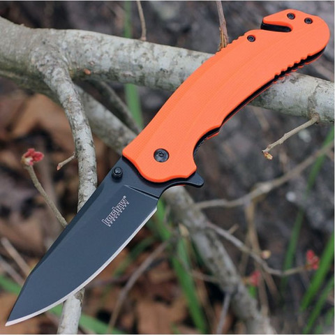 Складной нож Barricade KERSHAW 8650, сталь 8Cr13MoV, рукоять GFN термопластик, оранжевый. Вид 4