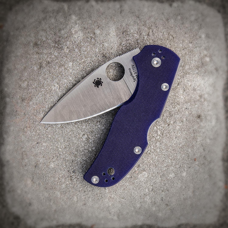 Фото 6 - Нож складной Native 5 - Spyderco 41GPDBL5, сталь CPM® S110V Satin Plain, рукоять стеклотекстолит G-10, синий (Dark Blue)