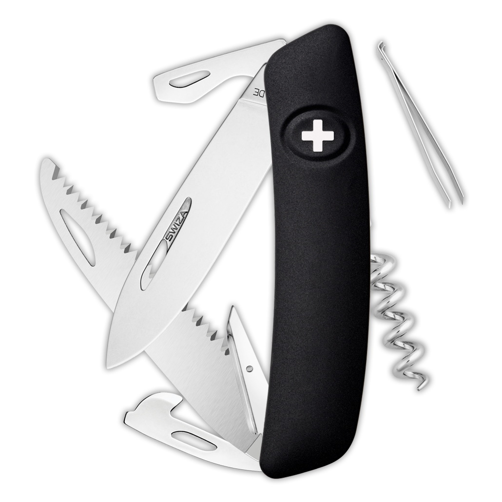 Швейцарский нож SWIZA D05 Standard, 95 мм, 12 функций, черный