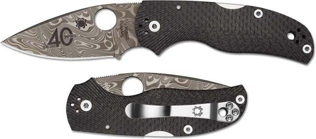 Фото 11 - Складной нож Native 5 40th Anniversary Spyderco C41CF40TH, сталь Thor™ Pattern Damasteel®, рукоять карбон