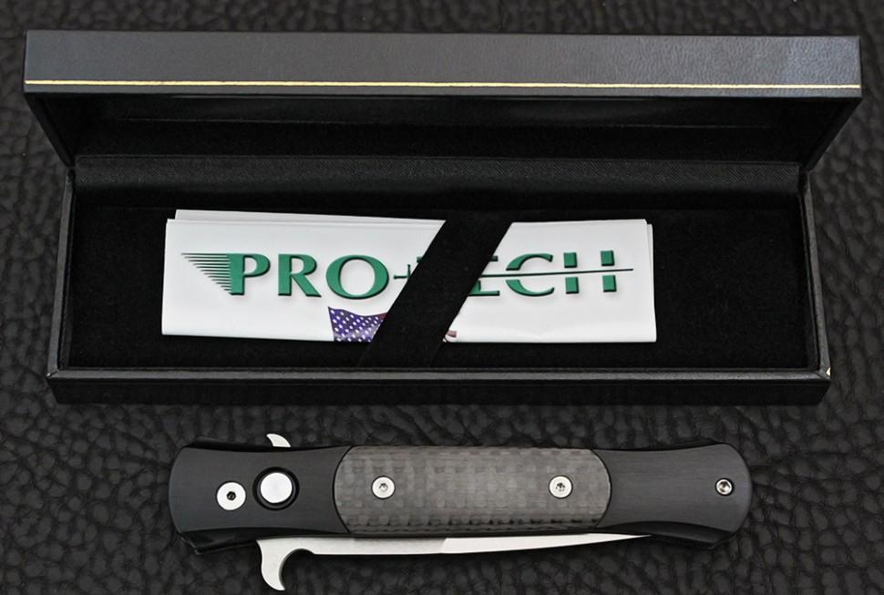 Фото 7 - Автоматический складной нож Pro-Tech 1704 The Don, сталь Satin Finish 154CM, рукоять алюминий с карбоновыми вставками 8.89 см.