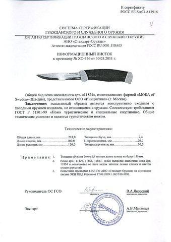 Нож с фиксированным лезвием Morakniv Companion F Rescue, сталь Sandvik 12С27, рукоять резина/пластик. Вид 7