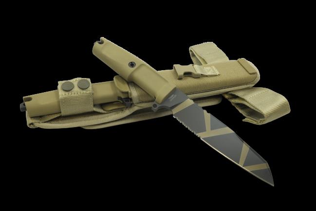 Фото 7 - Нож с фиксированным клинком Extrema Ratio Task Desert Warfare 1/3 Serrated, сталь Bhler N690, рукоять прорезиненный форпрен
