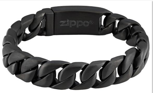 Браслет ZIPPO, чёрный, нержавеющая сталь, 18x1,30x0,60 см