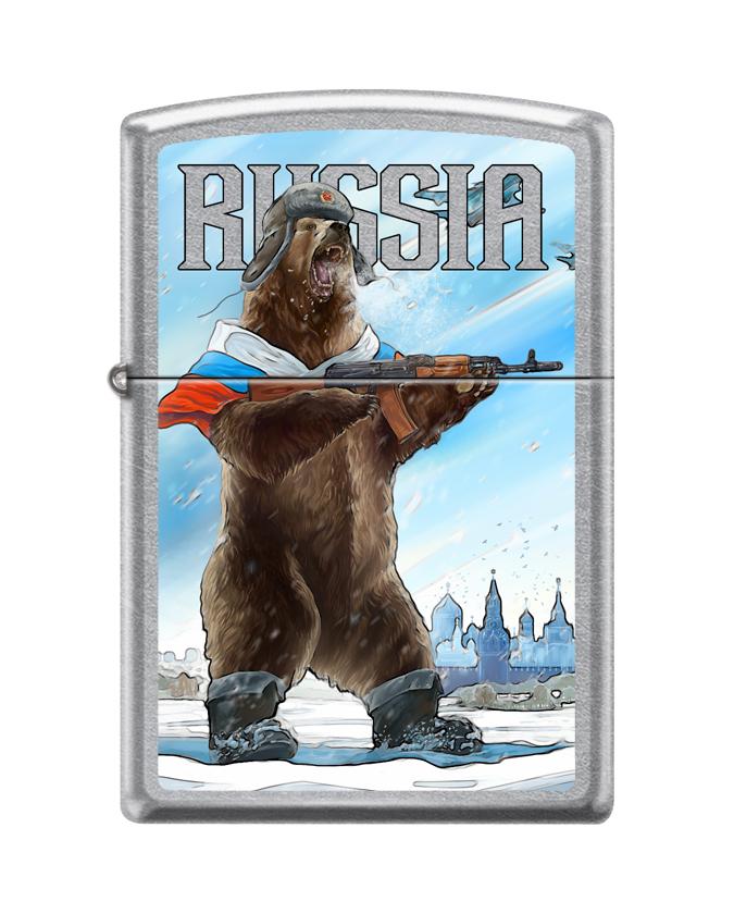 Зажигалка ZIPPO Русский медведь с покрытием Street Chrome™, латунь/сталь, серебристая, 36x12x56 мм