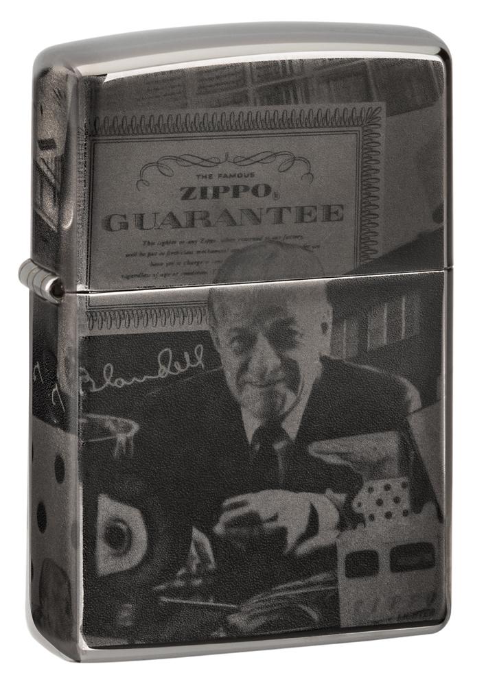 Зажигалка ZIPPO George Blaisdell с покрытием Black Ice®, латунь/сталь, чёрная, глянцевая, 36х12х56 мм