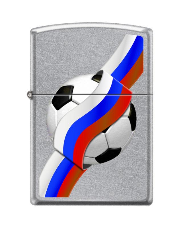Зажигалка ZIPPO Российский футбол с покрытием Street Chrome™, латунь/сталь, серебристая, 36x12x56 мм