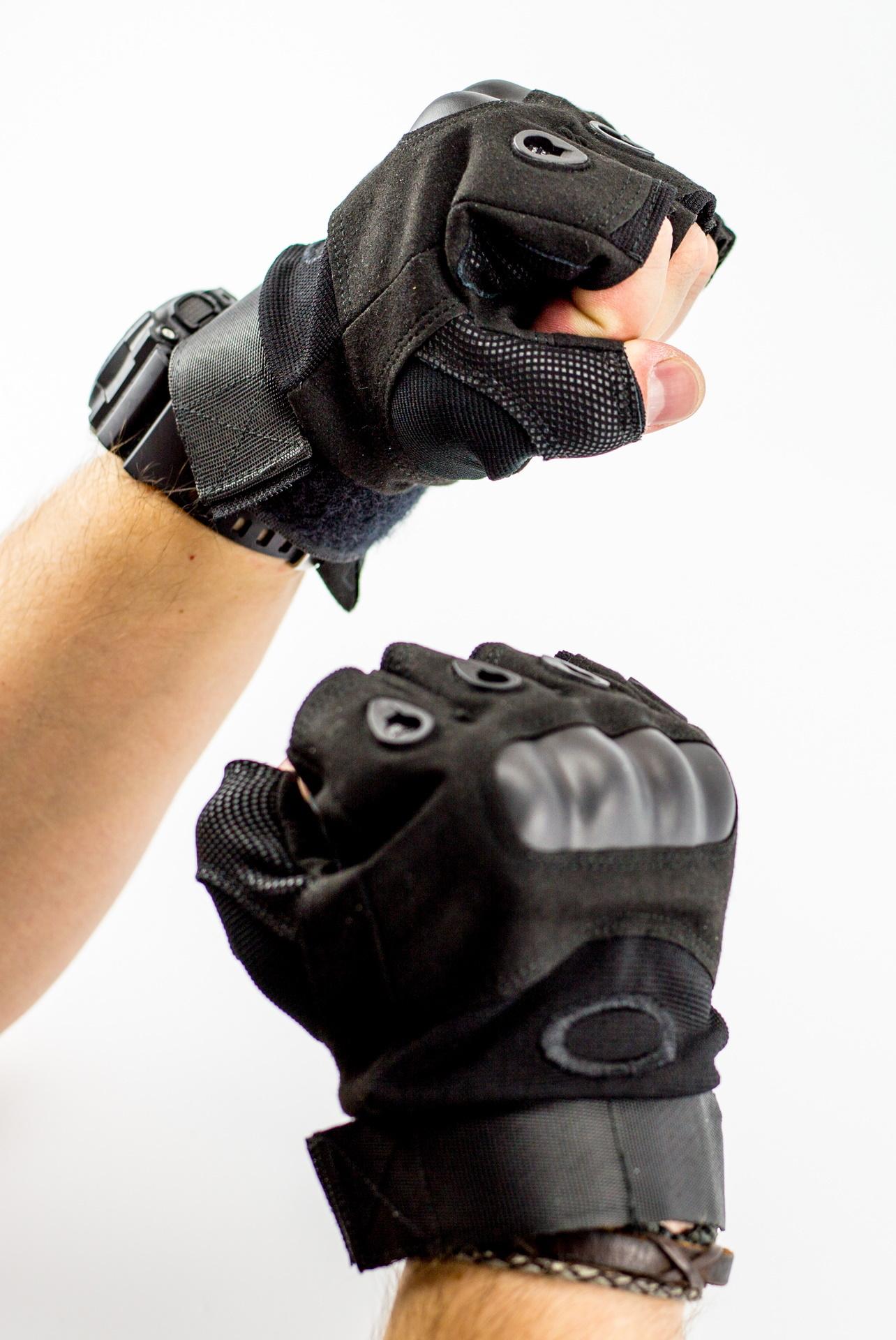 Тактические перчатки без пальцев, черные размер L от China Factory