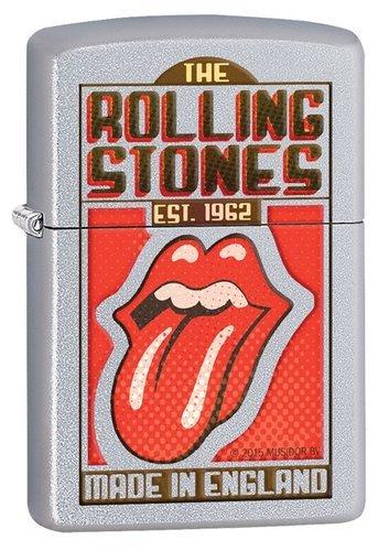 Зажигалка ZIPPO Rolling Stones с покрытием Satin Chrome™, латунь/сталь, серебристая, 36x12x56 мм