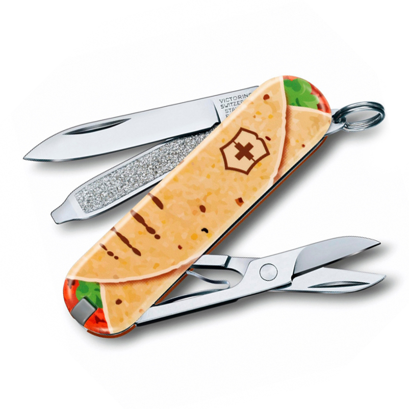Нож перочинный Victorinox Classic Mexican Tacos, сталь X55CrMo14, рукоять Cellidor®