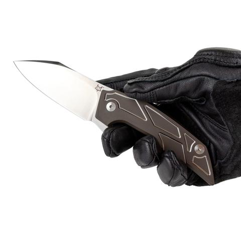 Складной нож Fox Phoenix, сталь M390, рукоять титановый сплав 6Al4V, коричневый. Вид 8