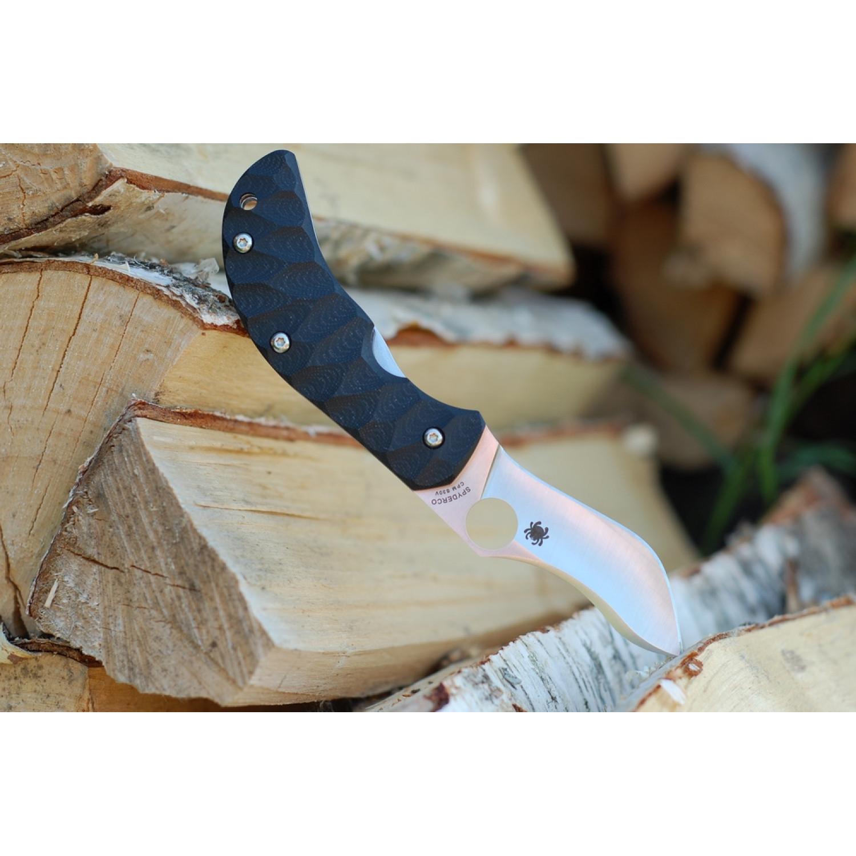 Фото 4 - Нож складной Zulu - Spyderco 145GP, сталь Crucible CPM® S30V™ Satin Plain, рукоять стеклотекстолит G10 гофрированная, чёрный