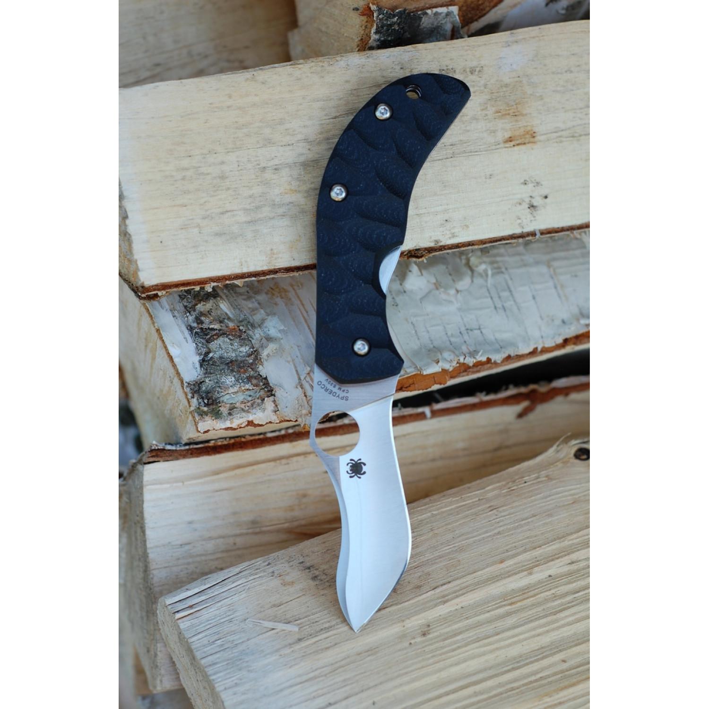 Фото 6 - Нож складной Zulu - Spyderco 145GP, сталь Crucible CPM® S30V™ Satin Plain, рукоять стеклотекстолит G10 гофрированная, чёрный