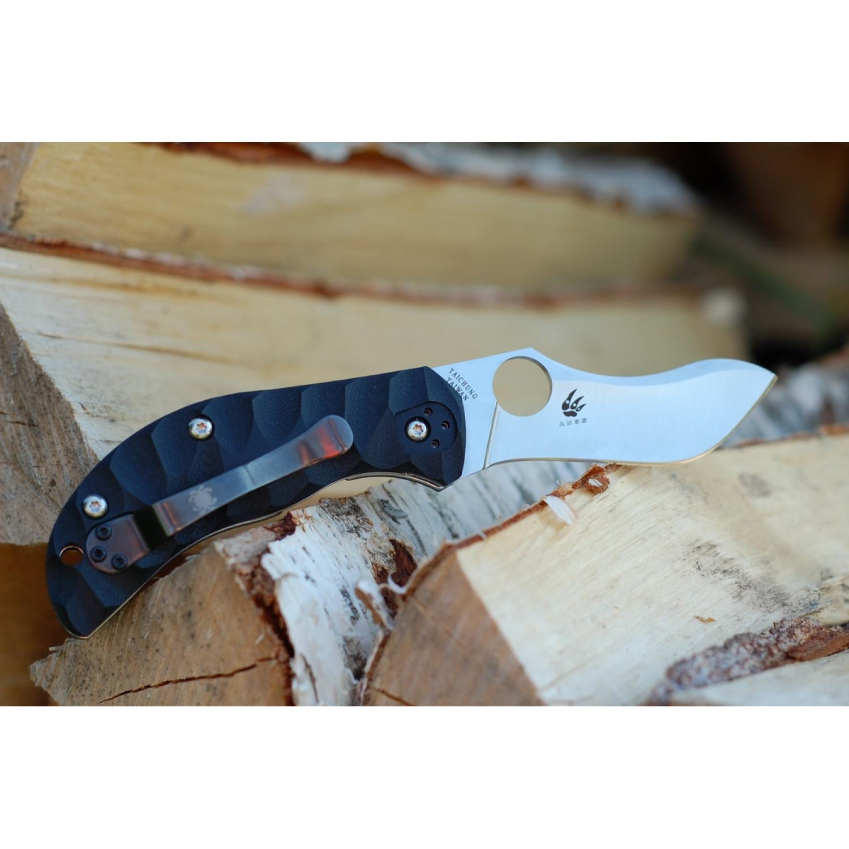 Фото 8 - Нож складной Zulu - Spyderco 145GP, сталь Crucible CPM® S30V™ Satin Plain, рукоять стеклотекстолит G10 гофрированная, чёрный