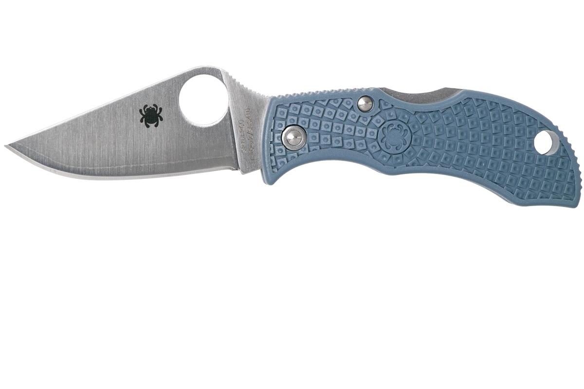 Фото 8 - Складной нож-брелок MANBUG - Spyderco MBBLPE, сталь V-Toku2 / Laminated 410 Satin Plain, рукоять синий термопластик FRN