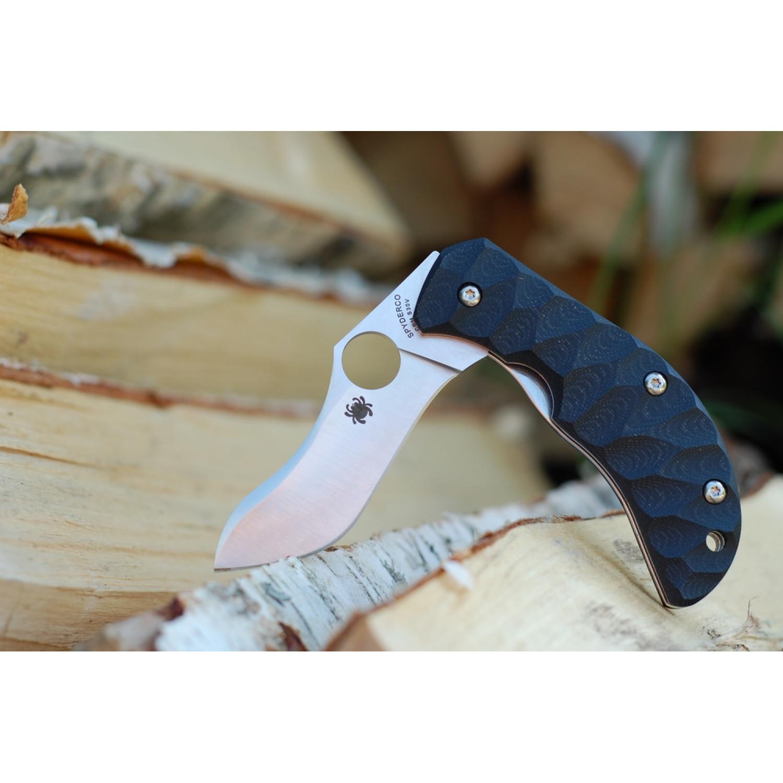 Фото 10 - Нож складной Zulu - Spyderco 145GP, сталь Crucible CPM® S30V™ Satin Plain, рукоять стеклотекстолит G10 гофрированная, чёрный