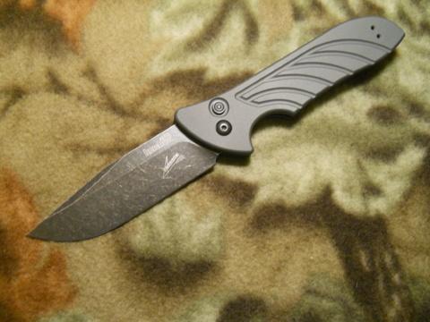 Полуавтоматический складной нож Launch 5 - Kershaw 7600GRYBW, BlackWashed DLC-Coated Crucible CPM® 154 Blade, рукоять серый алюминий, Emerson Design. Вид 5