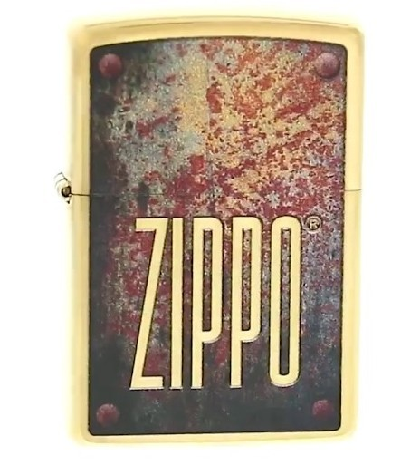 Зажигалка ZIPPO Rusty Plate с покрытием Brushed Brass, латунь/сталь, золотистая, 36x12x56 мм led spout swivel spout kitchen sink faucet pull out mixer tap with cover plate nickel brushed finished