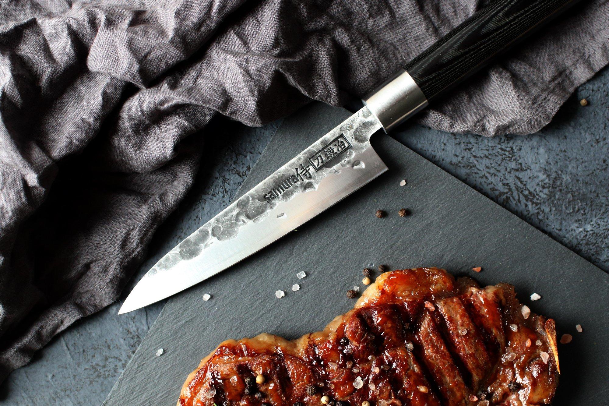 Нож кухонный Samura BLACKSMITH универсальный 162 мм, AUS-8, микарта