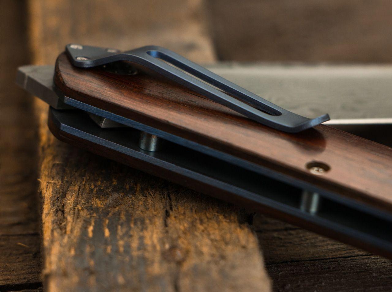 Фото 10 - Нож складной Boker Plus Exskelibur I Damascus Cocobolo, дамасская сталь Plain, рукоять дерево, 01BO222DAM
