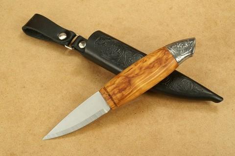 Нож с фиксированным клинком Brusletto Renessanse, сталь Sandvik 12C27, рукоять карельская береза. Вид 9