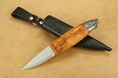 Нож с фиксированным клинком Brusletto Renessanse, сталь Sandvik 12C27, рукоять карельская береза, фото 9