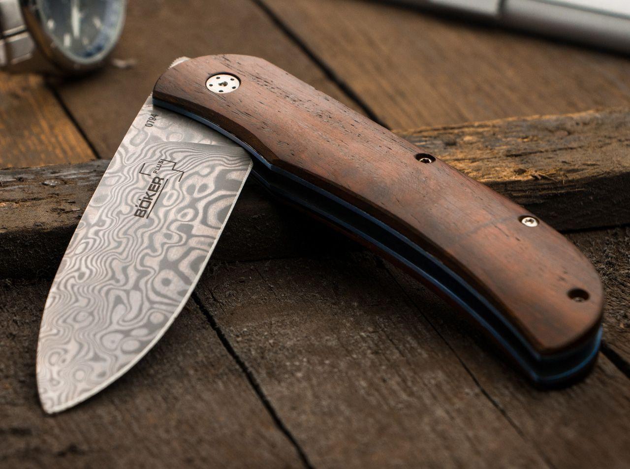 Фото 11 - Нож складной Boker Plus Exskelibur I Damascus Cocobolo, дамасская сталь Plain, рукоять дерево, 01BO222DAM