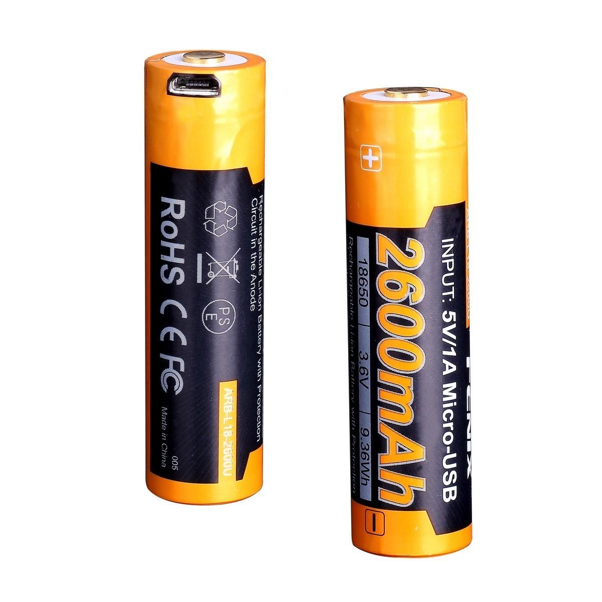 Аккумулятор 18650 Fenix 2600U mAh с разъемом для USB аккумулятор