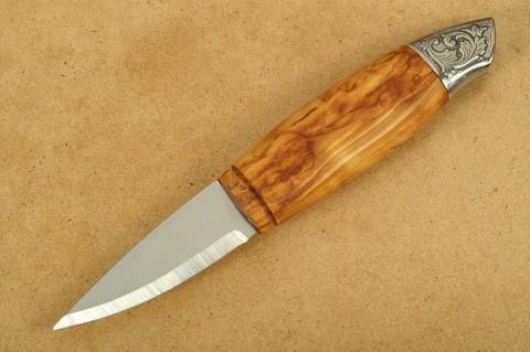 Нож с фиксированным клинком Brusletto Renessanse, сталь Sandvik 12C27, рукоять карельская береза. Вид 3