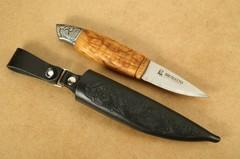 Нож с фиксированным клинком Brusletto Renessanse, сталь Sandvik 12C27, рукоять карельская береза, фото 10