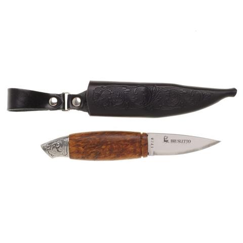 Нож с фиксированным клинком Brusletto Renessanse, сталь Sandvik 12C27, рукоять карельская береза. Вид 2