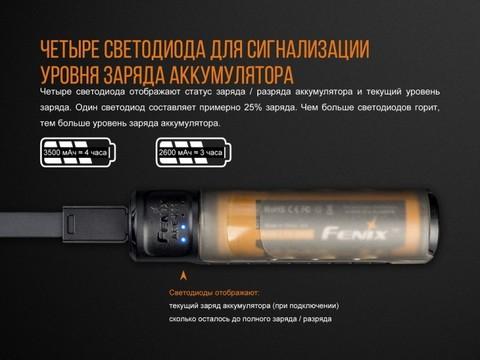 Набор зарядное устройство+аккумулятор на 18650 Fenix 3500U mAh Fenix ARE-X11 NEW. Вид 2