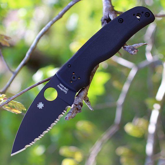 Фото 5 - Складной нож Spyderco Shaman C229GSBK, сталь CPM® S30V™ Black DLC Coated Plain, рукоять стеклотекстолит G10, чёрный