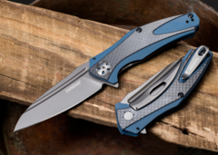 Складной нож Kershaw Natrix Blue/Gray K7007CF, сталь 8Cr13MoV, рукоять G10/карбон, фото 2