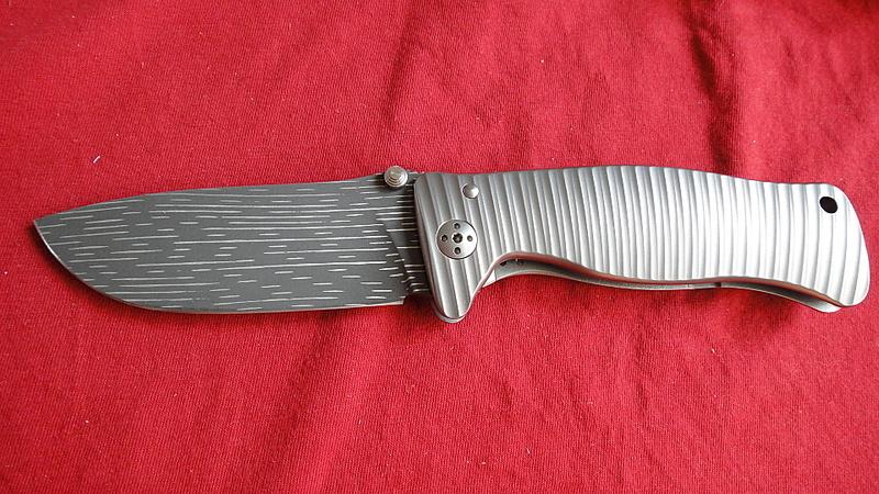 Фото 2 - Нож складной LionSteel SR1DS G, сталь дамаск с рисунком
