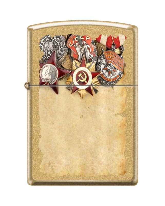 Зажигалка ZIPPO Советские ордена, латунь/сталь с покрытием Gold Dust™, золотистая, 36x12x56 мм цены онлайн