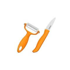 Набор Фруктовый нож и овощечистка Samura Eco циркониевая керамика, оранжевые рукояти