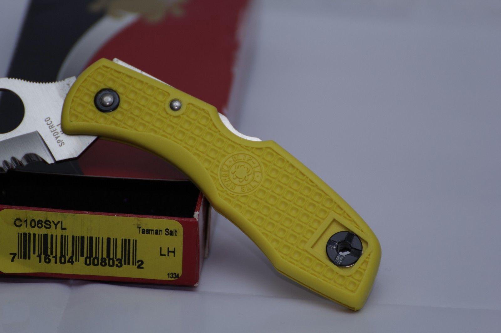 Фото 11 - Нож складной Tasman Salt™ Spyderco 106SYL, сталь H1 Satin Serrated, рукоять термопластик FRN, жёлтый