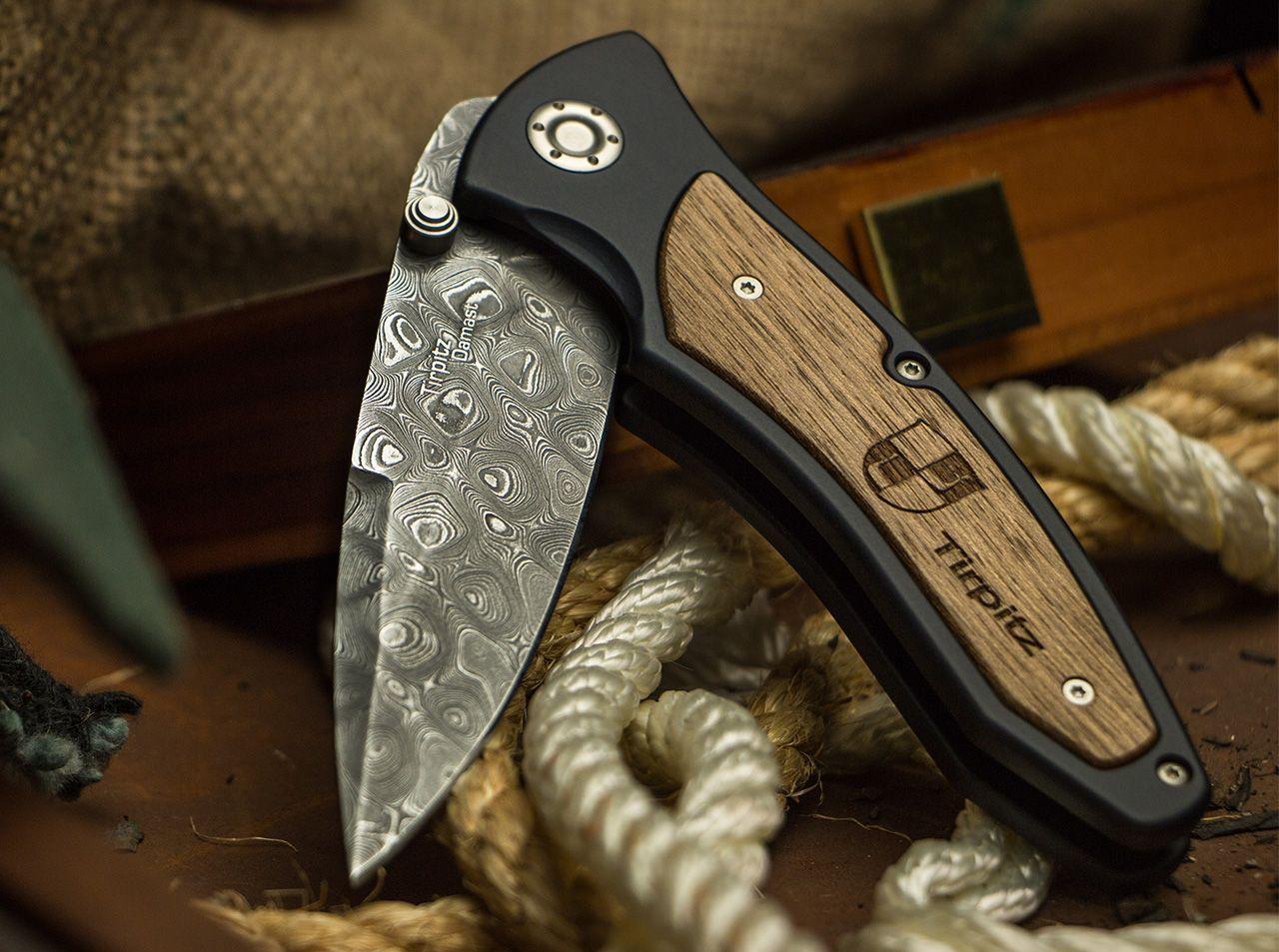 Фото 9 - Складной нож Tirpitz-Damascus Boker 110190DAM, дамасская сталь, рукоять алюминий/ореховое дерево