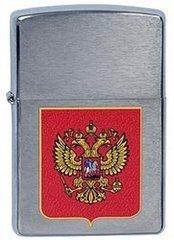 Зажигалка ZIPPO Герб России, латунь с  покрытием Brushed Chrome, серебристый, матовая, 36х12x56 мм