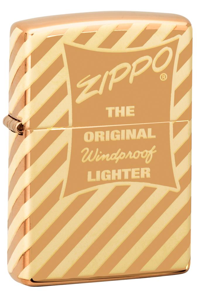 Зажигалка ZIPPO Vintage Zippo Box Top с покрытием High Polish Brass, латунь/сталь, золотистая, глянцевая, 36x12x56 мм