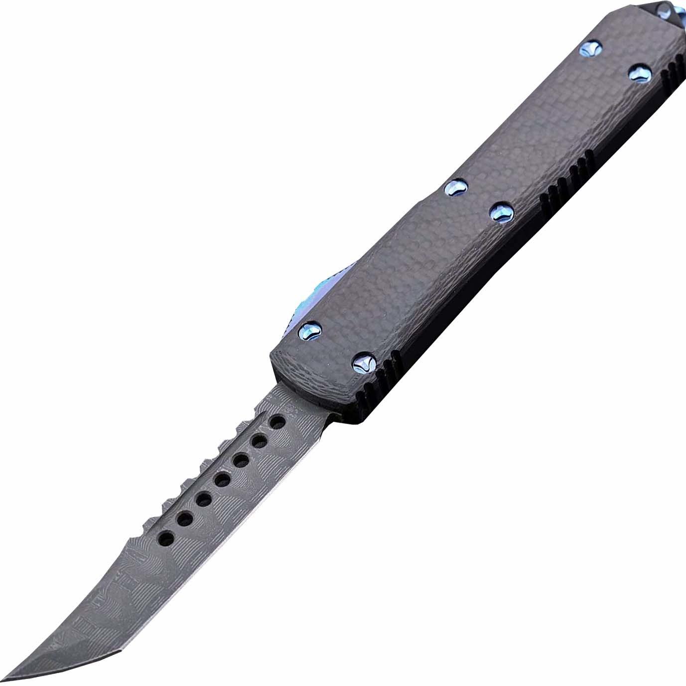 Автоматический выкидной нож Microtech Ultratech Hellhound, сталь дамаск, рукоять карбон