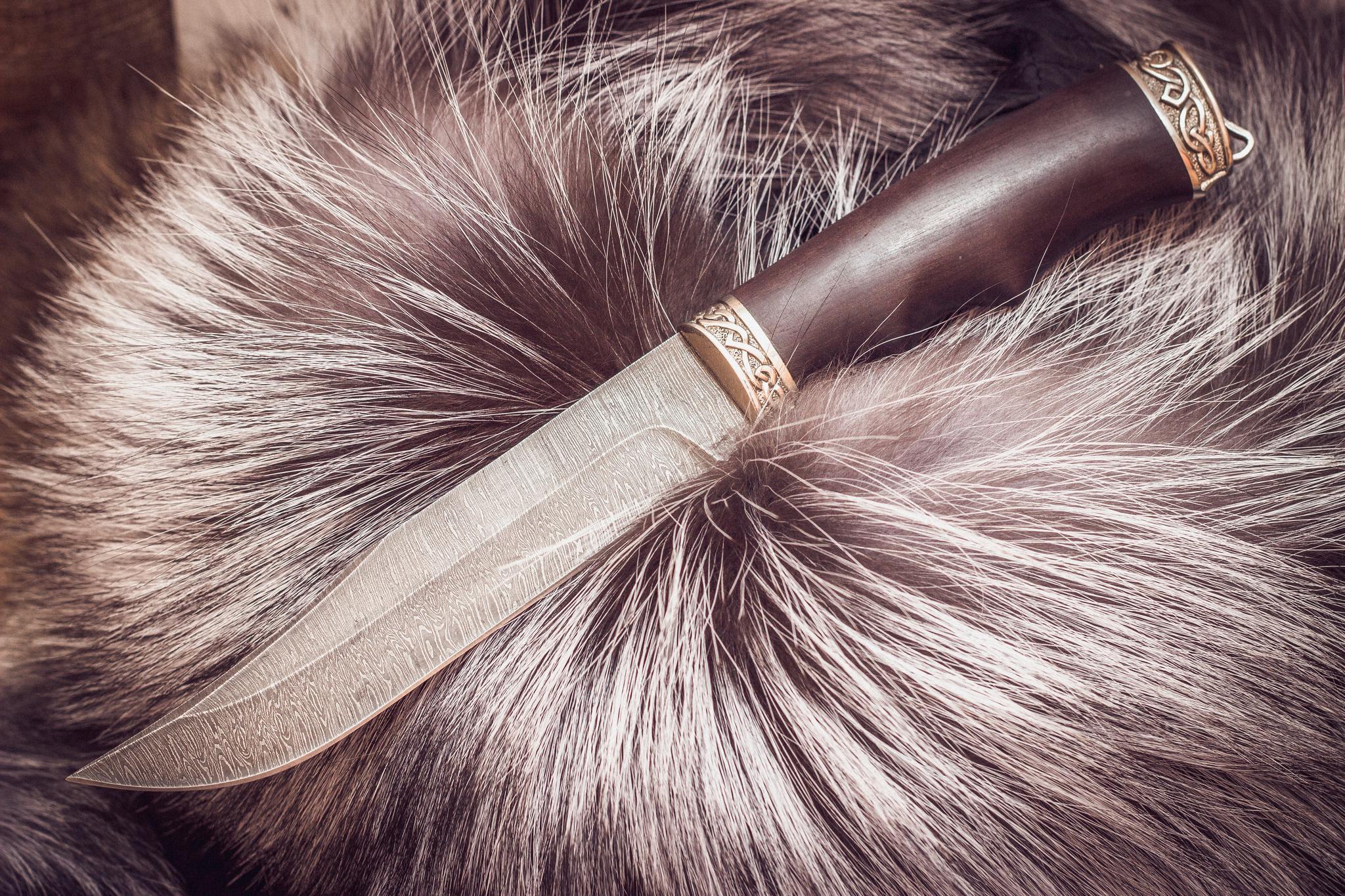 Нож из дамасской стали Щука, граб футболка щука