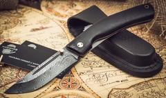 Складной нож Нижегородец, дамаск, граб